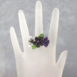 Black Floral Blossom Leather Ring (Thailand) - Thumbnail 2