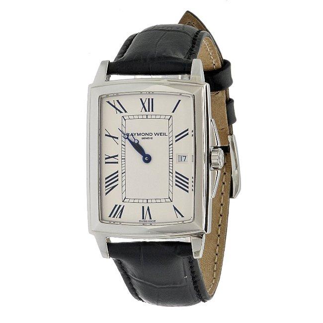 Raymond Weil Men's Black Leather Strap Watch