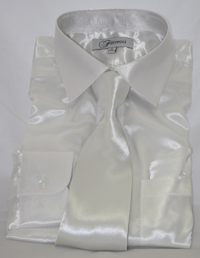 Ferrecci Men's Shinny Shirt with Tie and Hanky
