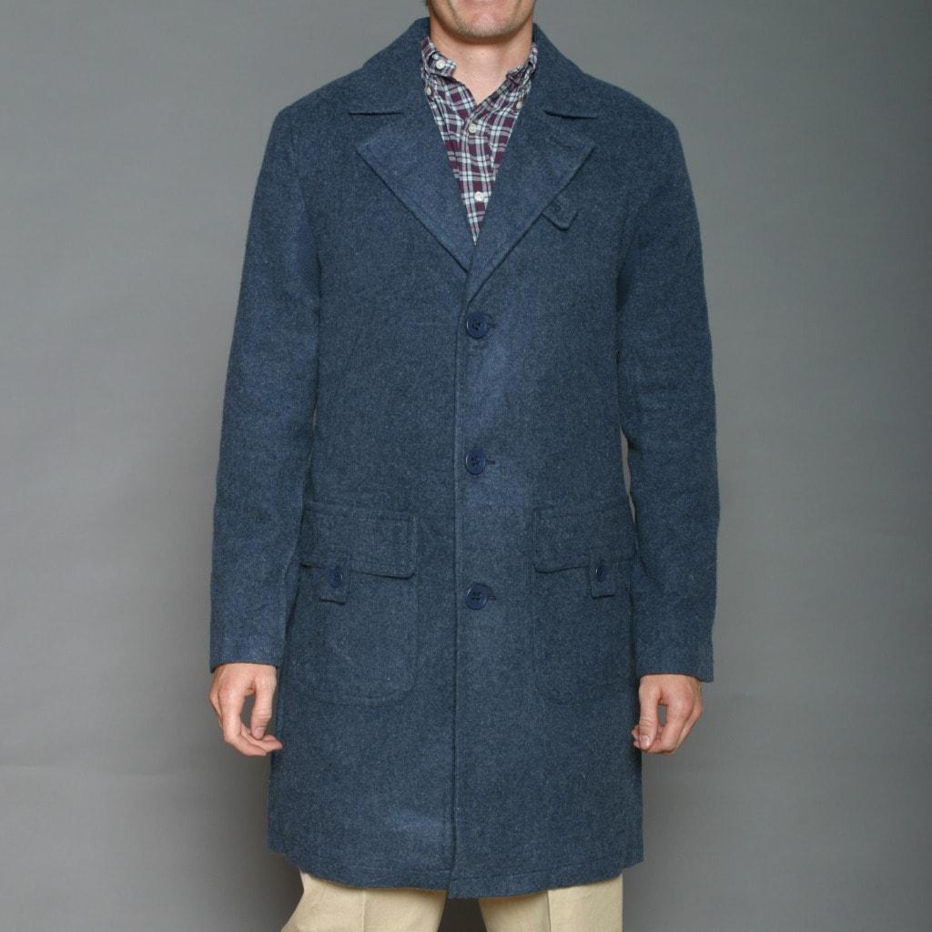 Cloth Logic Men's Navy Long Wool-blend Jacket