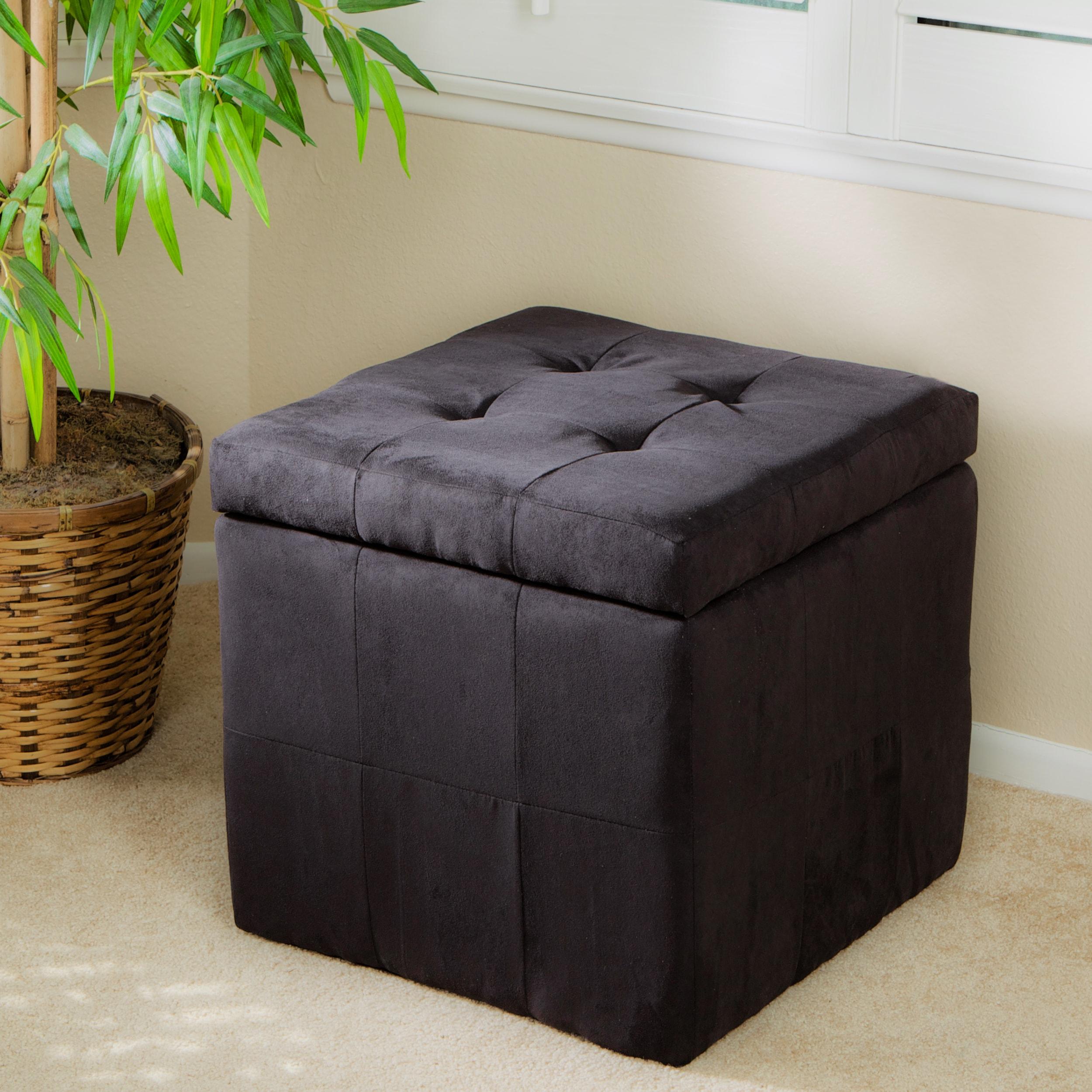 Tufted Black Fabric Storage Cube Ottoman Free Shipping