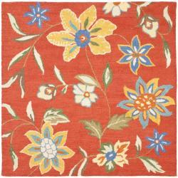 Safavieh Handmade Blossom Rust Wool Area Rug (6' Square)