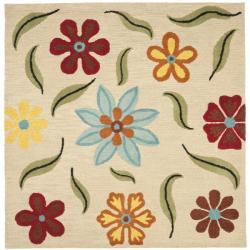 Safavieh Handmade Blossom Beige Floral Wool Rug (6' Square)