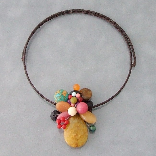 Yellow Sandstone Cluster Cotton Choker Necklace (Thailand)