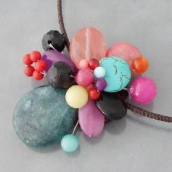 Blue Green Sandstone Cluster Cotton Choker Necklace (Thailand)