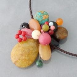 Yellow Sandstone Cluster Cotton Choker Necklace (Thailand) - Thumbnail 1