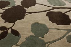 nuLOOM Handmade Floral Beige Rug (7'6 x 9'6) - Thumbnail 2