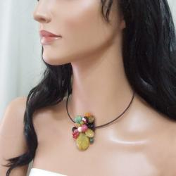 Yellow Sandstone Cluster Cotton Choker Necklace (Thailand) - Thumbnail 2