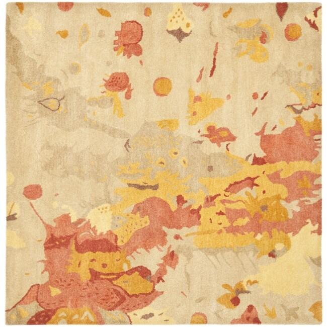 Safavieh Handmade Soho Splashes Modern Abstract Beige Wool Rug (6' x 6' Square)