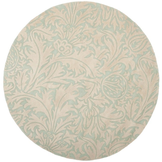 Safavieh Handmade Bliss Beige/ Blue New Zealand Wool Rug (6' Round)