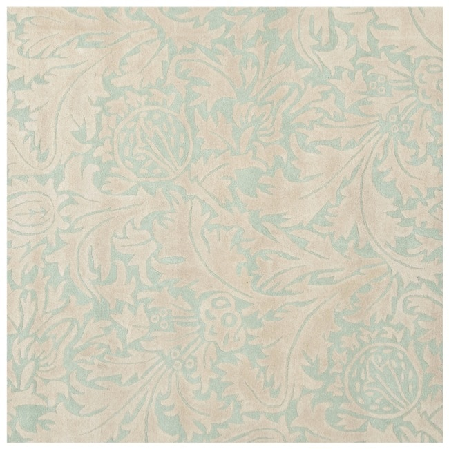 Safavieh Handmade Bliss Beige/ Blue New Zealand Wool Rug - 6' x 6' Square
