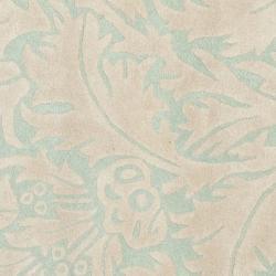 Safavieh Handmade Bliss Beige/ Blue New Zealand Wool Rug (6' Square) - Thumbnail 2