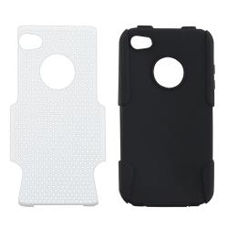 Black Skin/ White Mesh Hybrid Case for Apple iPhone 4/ 4S - Thumbnail 2