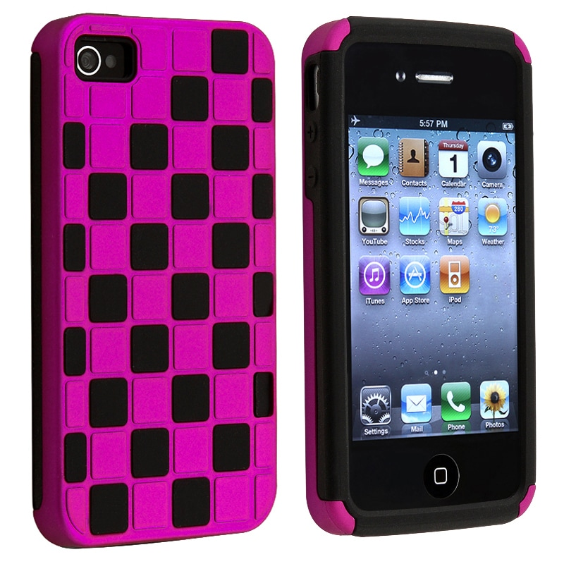 Hot Pink/ Black Checkered Snap-on Case for Apple iPhone 4/ 4S
