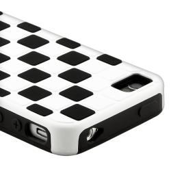 Black/ White Checkered Snap-on Case for Apple iPhone 4/ 4S