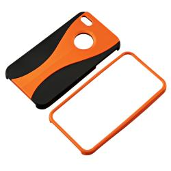 Orange/ Black Cup-shape Snap-on Rubber Coated Case for Apple iPhone 4