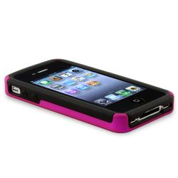 Hot Pink/ Black Checkered Snap-on Case for Apple iPhone 4/ 4S - Thumbnail 2