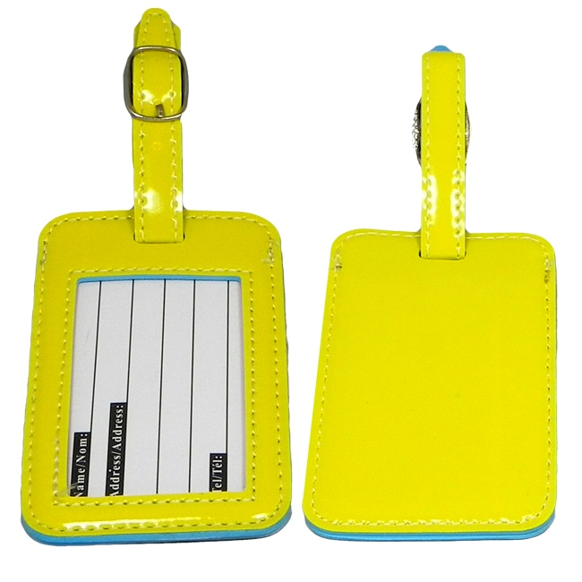 Naftali Yellow PVC-stitched Luggage ID Cards and Tags (Set of Two)