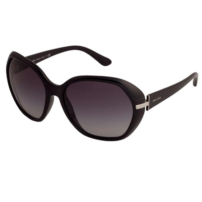 82b23acea310f Shop Prada Women s PR 14NS 1AB3M1 Shiny Black Plastic Fashion Sunglasses -  Free Shipping Today - Overstock - 6401815