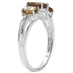 Malaika Sterling Silver Champagne Quartz Three-Stone Ring