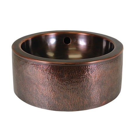 The Copper Factory Solid Copper Round Hand Hammered Vessel Sink with Apron - Antique Copper