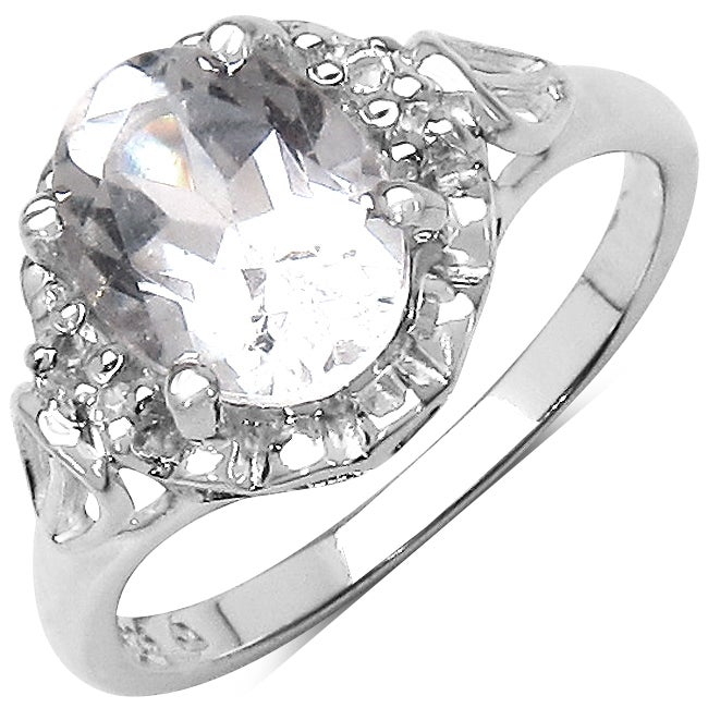 Malaika Sterling Silver Clear Crystal Quartz and White Topaz Ring (2 3/5ct TGW)