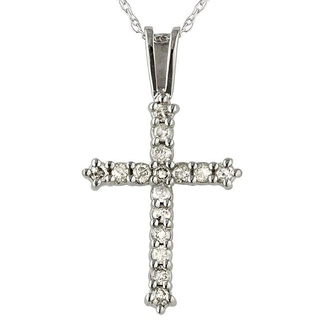 10k White Gold 1/4ct TDW Diamond Cross Necklace (I, I3)