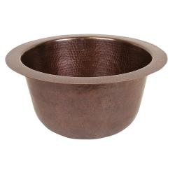 The Copper Company Solid Copper Hand Hammered Round Bar/Prep Sink