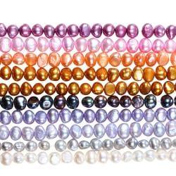 Miadora Multi-colored FW Potato Pearl 10-piece Elastic Bracelet Set (5-6 mm)
