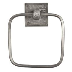 The Copper Factory Satin Nickel Hammered Copper Square Towel Ring