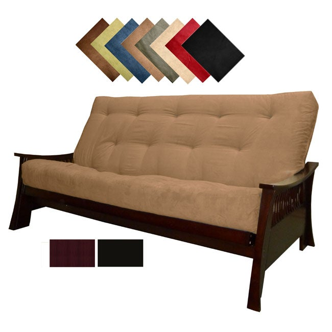 Solid All Wood Bellevue Microfiber Suede Inner Spring Full-size Futon Sofa Bed Sleeper