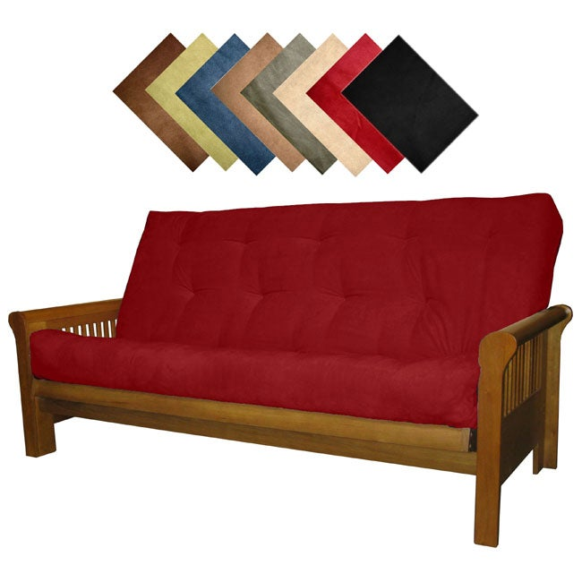 Solid all wood hartford microfiber suede inner spring for Solid wood futon sofa bed