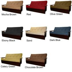Solid All Wood Tampa Microfiber Suede Inner Spring Full-size Futon Sofa Bed Sleeper