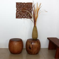 Mango Wood Light Teak Oil Pouf Stool (Thailand) - Thumbnail 1