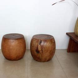 Mango Wood Light Teak Oil Pouf Stool (Thailand) - Thumbnail 2