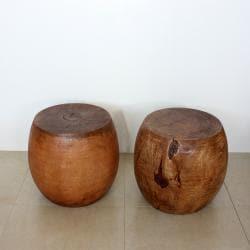 Mango Wood Light Teak Oil Pouf Stool (Thailand) - Thumbnail 0