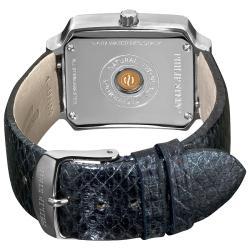 Philip Stein Women's Classic Metalic Navy Leather Strap Watch