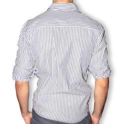 191 Unlimited Men's Blue Stripe Contrast Cuff Slim Fit Shirt