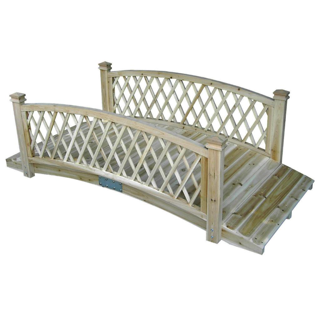 Garden Odyssey 6-foot Natural Wood Lattice Garden Bridge