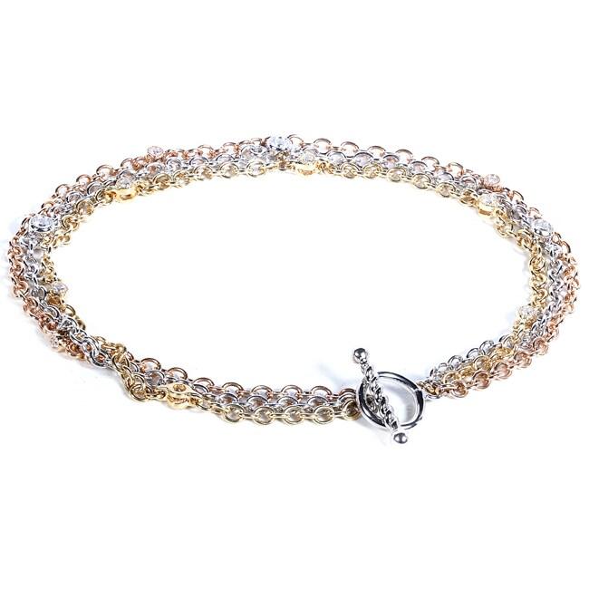 Annello by Kobelli 14k Tri-color Gold 1/5ct TDW Diamond Bracelet (G-H, SI1-SI2)