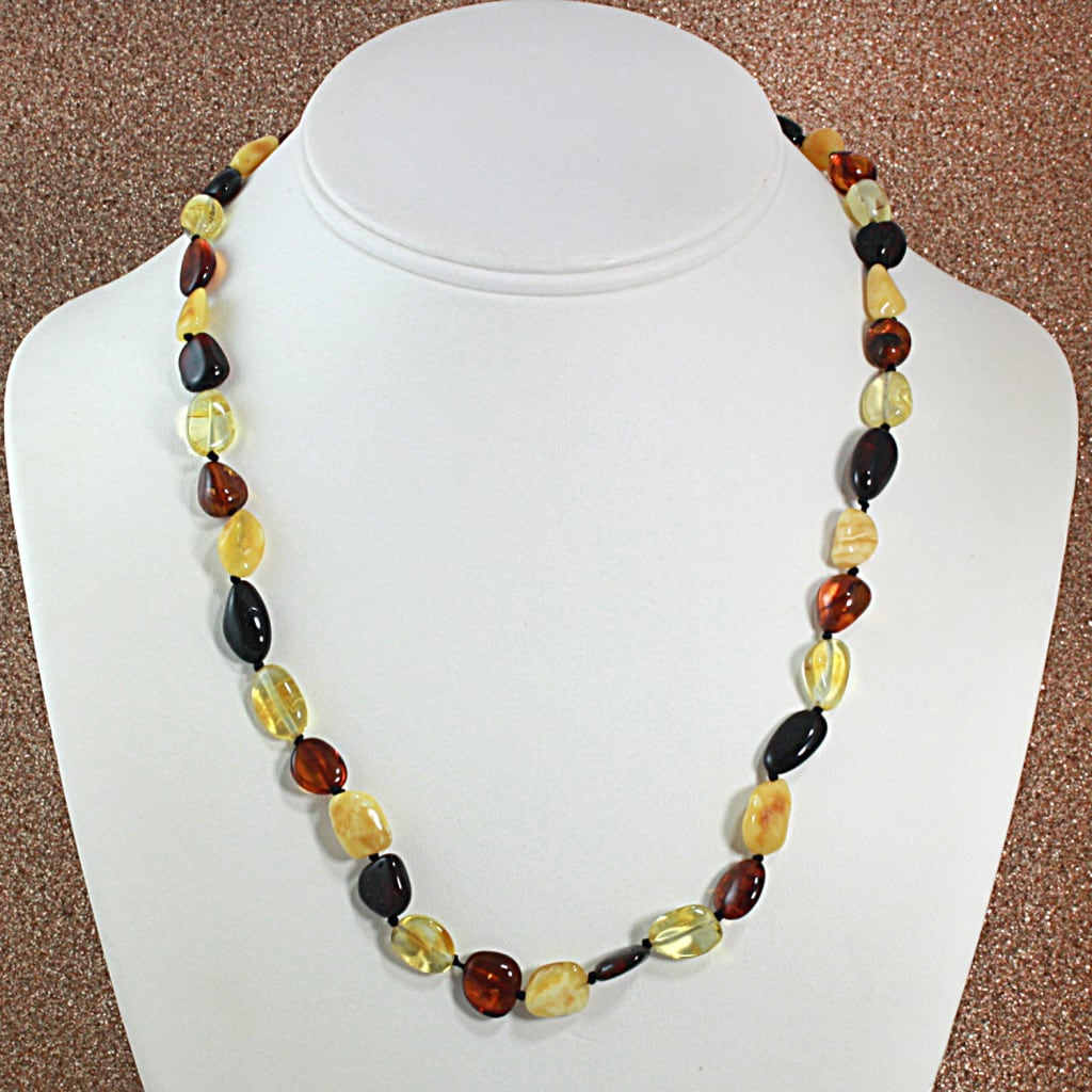 Multicolor Baltic Amber Nugget Necklace (Lithuania)