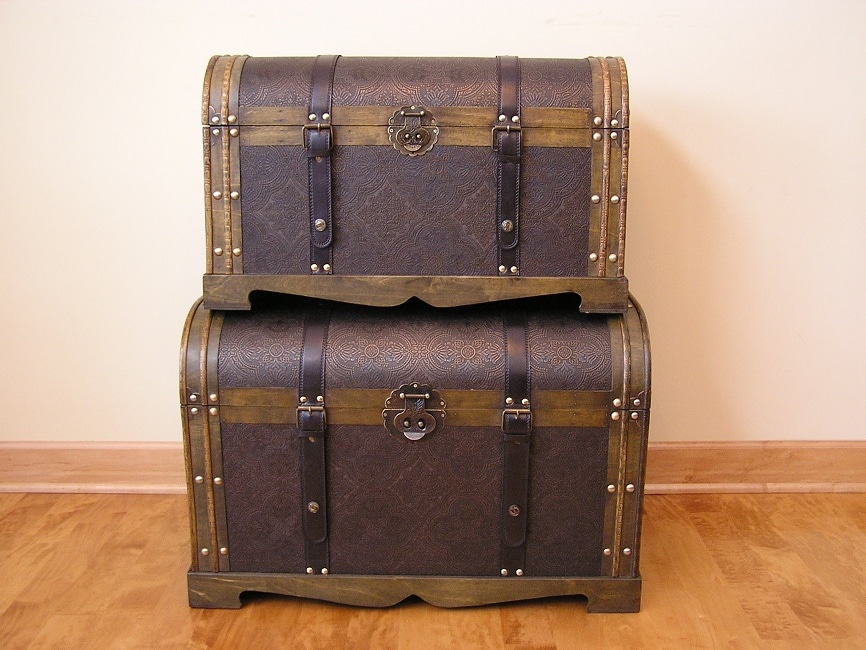 China Antique Victorian Wood Trunk Treasure Chest (Set of...