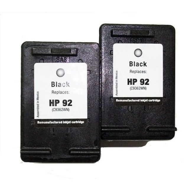 HP 92 Black Ink Cartridges (Remanufactured) (Pack of 2)