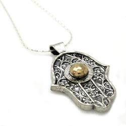 Beverly Hills Charm Silver and 14k Gold 'Hamsa' Necklace - Thumbnail 1