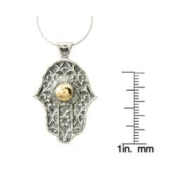 Beverly Hills Charm Silver and 14k Gold 'Hamsa' Necklace - Thumbnail 2