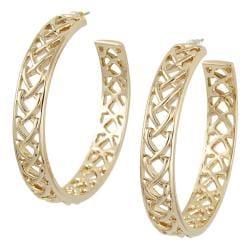 Michelle Monroe Goldtone Tungsten Braided Hoop Earrings