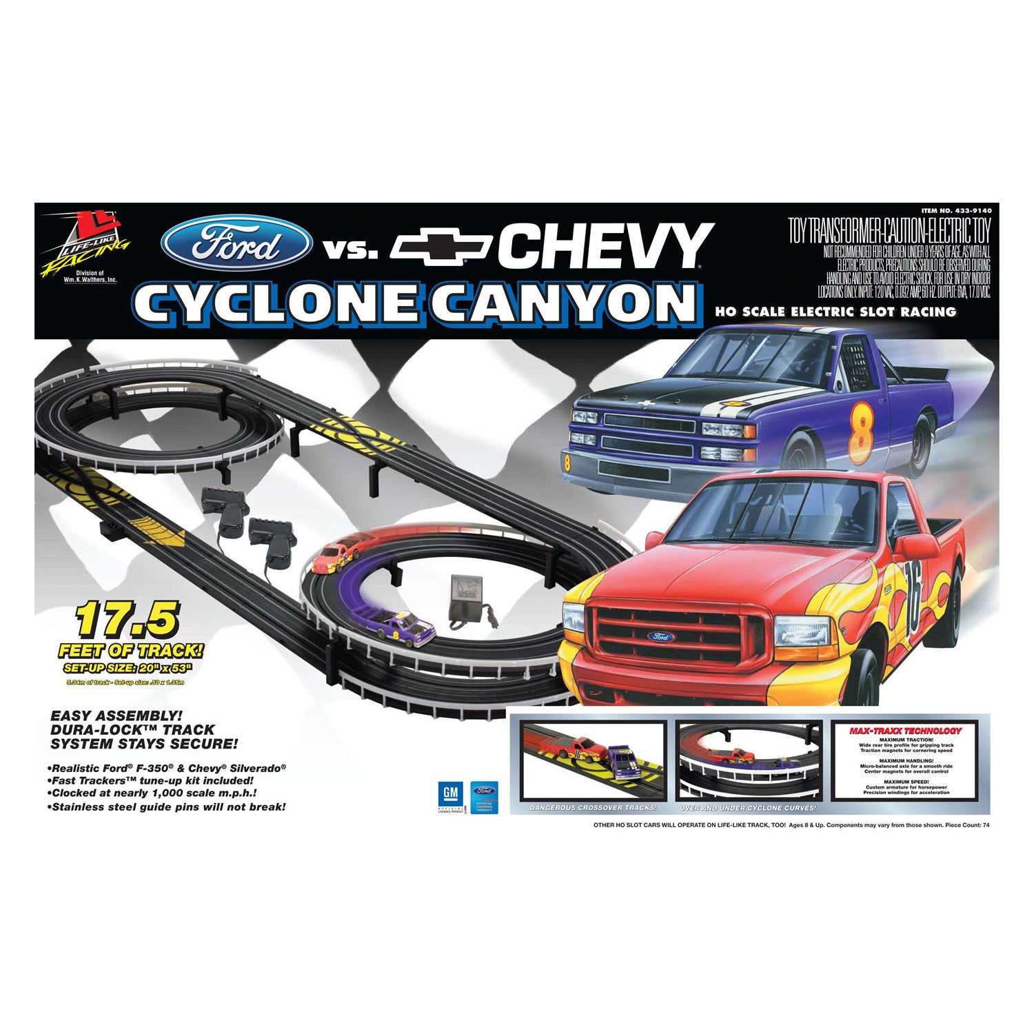 Ford vs Chevy Cyclone Canyon Slot Car Racing Set - Thumbnail 0