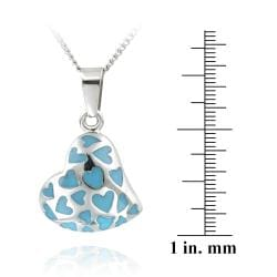 Glitzy Rocks Stainless Steel Turquoise Enamel Heart Necklace - Thumbnail 2