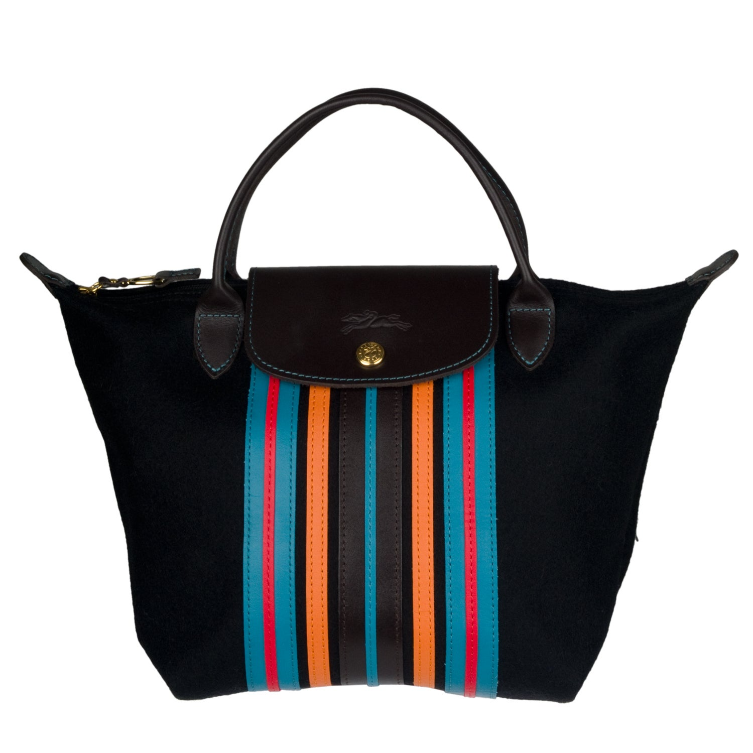 Shop Longchamp  Le Pliage  Small Striped Wool Tote Bag - Free Shipping  Today - Overstock.com - 6416047 6b85915e02
