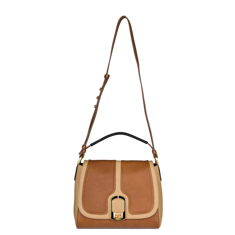 Fendi 'Anna' Two-tone Leather Shoulder Bag